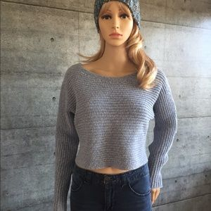 Athleta cropped cotton-cashmere boat neck sweater